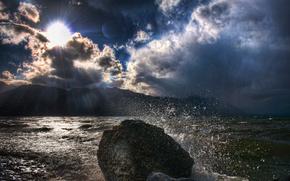 morze, soce, chmury, ki, Promienie
