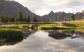 landscape, nature, Trees, Mountains, stones, water, river, grass, sky