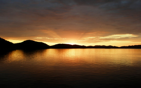 tramonto, lago, Hills, sole, nuvole, cielo