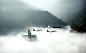 Castello di Neuschwanstein, combattenti, nuvole, foresta