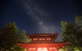природа, звезды, пагода, masahiro miyasaka