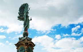statue, sculpture, clouds, sky