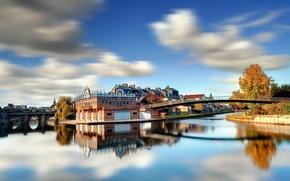 citt, fiume, ponti, costa, casa