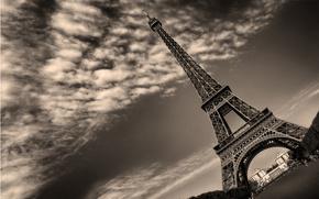 Paris, clouds, tower, Eiffel Tower