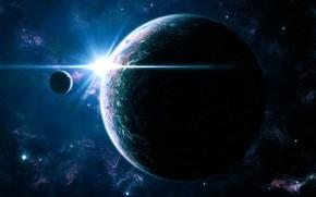 planeta, Estrella, galaxia, satlite, luz