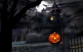 De Halloween, calabaza, castillo