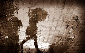 девушка, дождь, город, отражение, лужа, зонт, зонтик