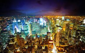 Ciudad, casa, Rascacielos, luz