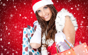 New Year, snow, girl, Gifts