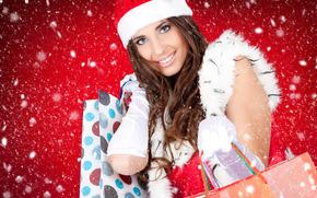Neujahr, Schnee, Mdchen, Geschenke