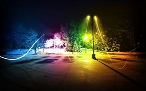 citt, sera, parco, inverno, grafica, Photoshop