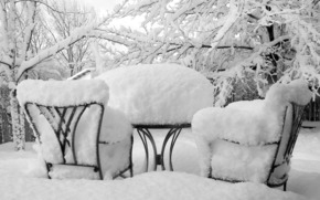 nature, winter, snow, frost, Table, chairs, Trees, photo, background, wallpaper