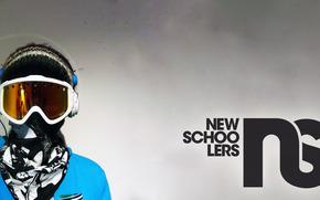 сноуборд, маска, шапка, очки, платок, надпись