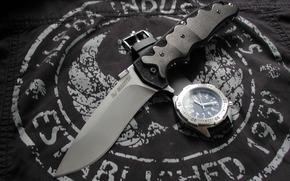 нож, часы, ткань