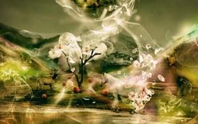 horse, яблоки, Trees, fantasy, Flowers, deer