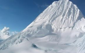 montagna, neve, ghiacciaio, sentiero
