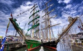 sailing ship, ship, wharf, the sky., ship, sea