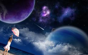 песок, море, девочка, зонтик, планеты, звезды, космос