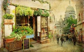 老, 城市, 街道, 小, 餐厅, 法国