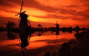 нидерланды, мельницы, небо