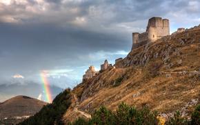 Italy, rainbow, ruins, fortress