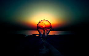 lightbulb, dawn, sunset, sun