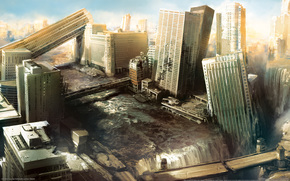 City, ruins, апокалипсис, Skyscrapers, destruction