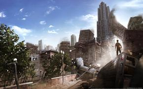 мужик, город, руины, разрушения, апокалипсис