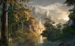 замок, лес, олень