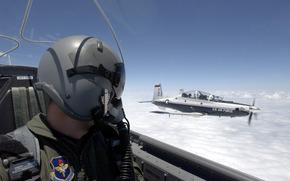 military, plane, aviation, sky, clouds, pilot, pilot, cabin, helmet, wallpaper
