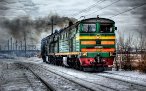 locomotive, railroad, winter