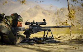 战士, 狙击兵, 步枪, 武器, 伏击