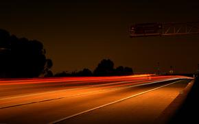 автобан, огни, ночь