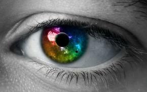 глаз, зрачок, космос, цвет