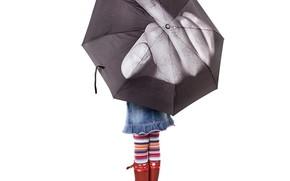 девочка, зонтик, фак, лебедев