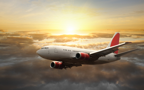 samolot, niebo, soce