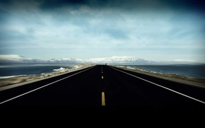 road, sky, Mountains