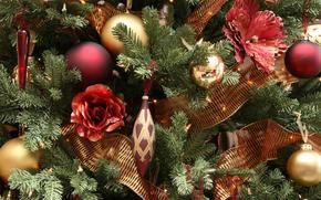 Giocattoli, inverno, Capodanno, abete