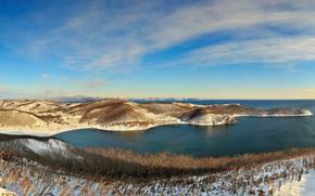 зима, снег, холмы, панорама, море