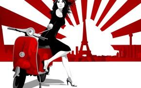 ragazza, ciclomotore, Parigi