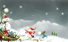 праздник, новый год, рождество, снеговик, вектор, рисунок