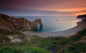 beach, rock, England, Sea, sky, sunset, water