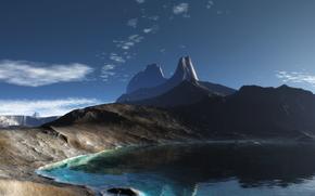 Montagne, Rocks, lago, panorama