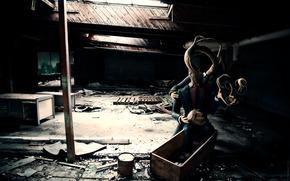 monster, room, light, devastation