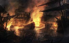 ships, fight, fire