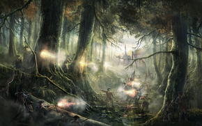 forest, fight, weapons, soldiers