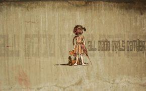 граффити, десктоп, мишка, девочка