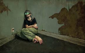 room, Figure, сеть, man, zombie