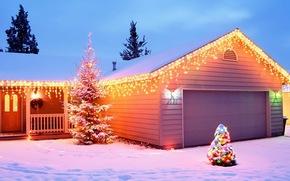 новый год, дом, елка