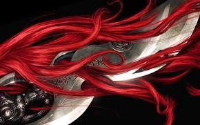 sword, hair